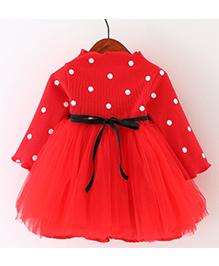 Tickles 4 U Fleece Polka Dot Fit & Flare Dress - Red