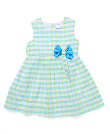 Babyhug Checks Design Frock With Bow Applique - Turquoise