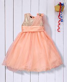 Pspeaches Flared Net Dress - Peach