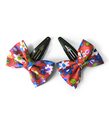 Knotty Ribbons Set Of Two Floral Bow Hair Clips - Red