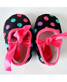 Dazzling Dolls Polka Dot Crib Shoes - Black