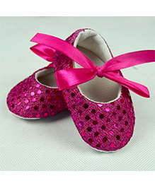 Dazzling Dolls Glittery Crib Shoes - Fuschia