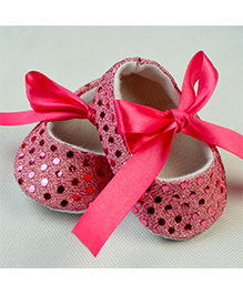 Dazzling Dolls Glittery Crib Shoes - Pink