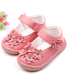 Dazzling Dolls Soft Leather Floral Shoes - Pink
