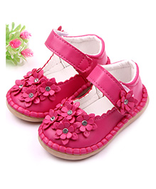 Dazzling Dolls Soft Leather Floral Shoes - Dark Pink