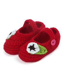 Dazzling Dolls Leaf Applique Booties - Red