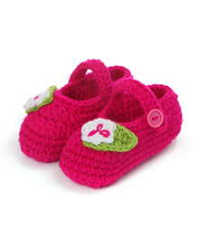 Dazzling Dolls Leaf Applique Booties - Fuschia