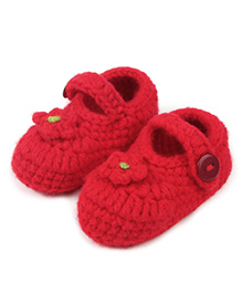 Dazzling Dolls Elegant Flower Applique Booties - Red