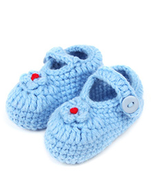 Dazzling Dolls Elegant Flower Applique Booties - Blue