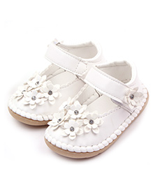 Dazzling Dolls Soft Leather Floral Shoes - White