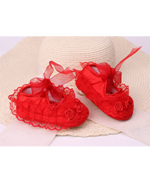 Dazzling Dolls Laced Flower Applique Party Shoes- Red