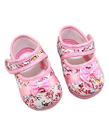 Dazzling Dolls Floral Print Pre-Walker Shoe With Bow - Pink