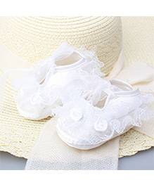 Dazzling Dolls Laced Flower Applique Party Shoes - White