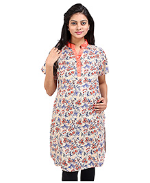 MomToBe Short Sleeves Floral Print Maternity Kurti - Peach