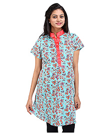 MomToBe Short Sleeves Floral Print Maternity Kurti - Blue