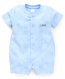 ToffyHouse Half Sleeves Romper Teddy Bear Print - Light Blue