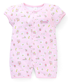 ToffyHouse Half Sleeves Printed Romper - Light Pink