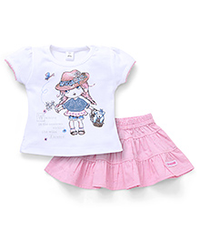 ToffyHouse Top And Skirt Set Doll Print - Pink White