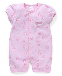 ToffyHouse Half Sleeves Romper Teddy Bear Print - Light Pink
