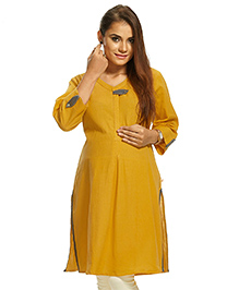 Kriti Three Fourth Sleeves Maternity Nursing Kurti -Yellow