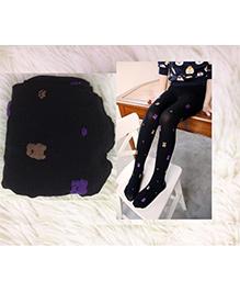 Dazzling Dolls Waist High Teddy Bear Stockings - Black