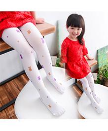 Dazzling Dolls Waist High Teddy Bear Stockings - White