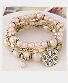 Dazzling Dolls Beaded Boho Floral Coin Charm Elastic Bracelet -Pink