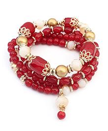 Dazzling Dolls Beaded Bohemian Elastic Bracelet -Red