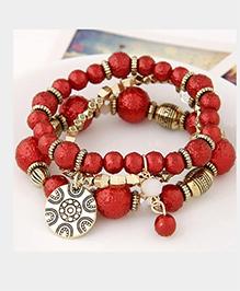 Dazzling Dolls Beaded Boho Floral Coin Charm Elastic Bracelet -Red