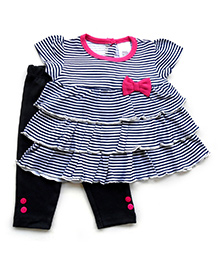 Dazzling Dolls Layered Striped Tunic Set With Leggings - Dark Blue