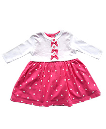 Dazzling Dolls Polka Dot Dress With Long Sleeve Bow Shrug - Pink