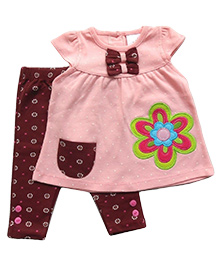 Dazzling Dolls Polka Dot Tunic With Printed Leggings - Peach