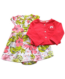 Dazzling Dolls Printed Onesie Style Dress With Long Sleeve Shrug - Red