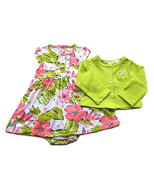 Dazzling Dolls Printed Onesie Style Dress With Long Sleeve Shrug - Green