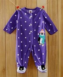 Dazzling Dolls Polka Dotted Purple Footed Fleece Winter Romper - Purple
