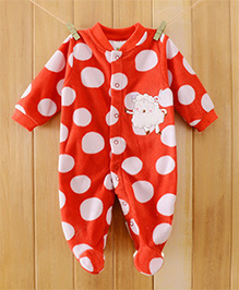 Dazzling Dolls Dotted Fleece Winter Footed Romper - Red