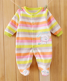 Dazzling Dolls Candy Color Striped Footed Fleece Winter Romper - Yellow