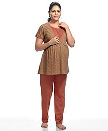 Kriti Short Sleeves Maternity Night Suit Floral Print - Brown Peach