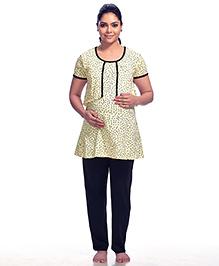 Kriti Half Sleeves Maternity & Nursing Dotted Top And Pajama - Cream Black
