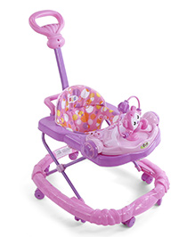 Musical Baby Walker With Toy Tray - Pink And Purple