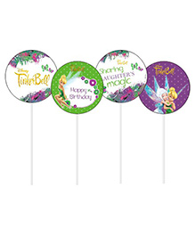 Disney Tinkerbell Cupcake & Food Toppers Pack Of 10 - Green White Purple