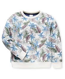Ollypop Full Sleeves All Over Leaf Printed Sweatshirt - Cream