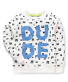 Ollypop Full Sleeves Dude Print Sweatshirt - Cream