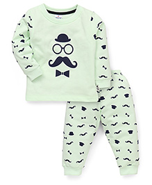 Ollypop Full Sleeves T-Shirt And Printed Pajama - Light Green