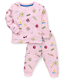 Ollypop Full Sleeves Top And Pajama Multiprint - Pink