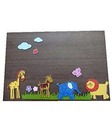 Kidoz Wooden Animal Motifs Wall Decor Pack Of 5 - Multi Color