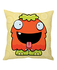 Stybuzz Cute Cartoon Face Cushion Cover - Yellow And Orange