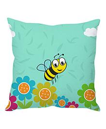 Stybuzz Bee Cartoon Cushion Cover - Sea Green