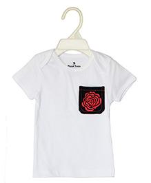 Bumchum Half Sleeves T-Shirt Rose Embroidery - White