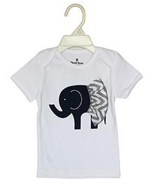 Bumchum Half Sleeves T-Shirt Elephant Print - White